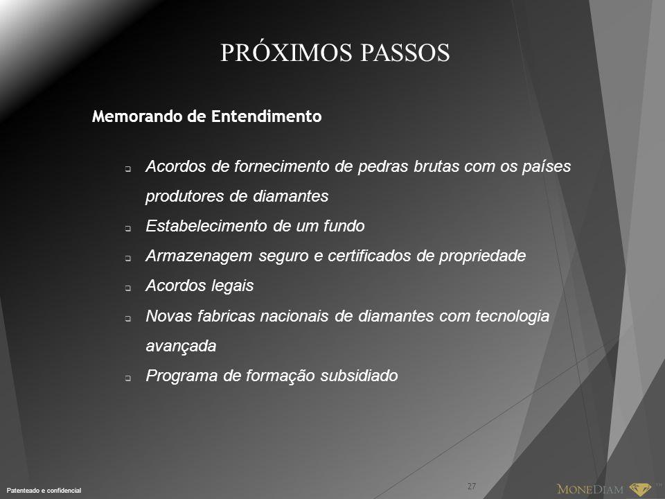 Patenteado e confidencial PRÓXIMOS PASSOS Memorando de Entendimento 27  Acordos de fornecimento de pedras brutas com os países produtores de diamante