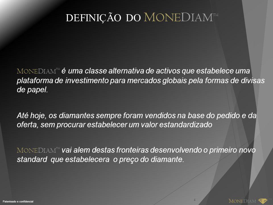Patenteado e confidencial DEFINIÇÃO DO M ONE D IAM TM 4 M ONE D IAM TM é uma classe alternativa de activos que estabelece uma plataforma de investimen