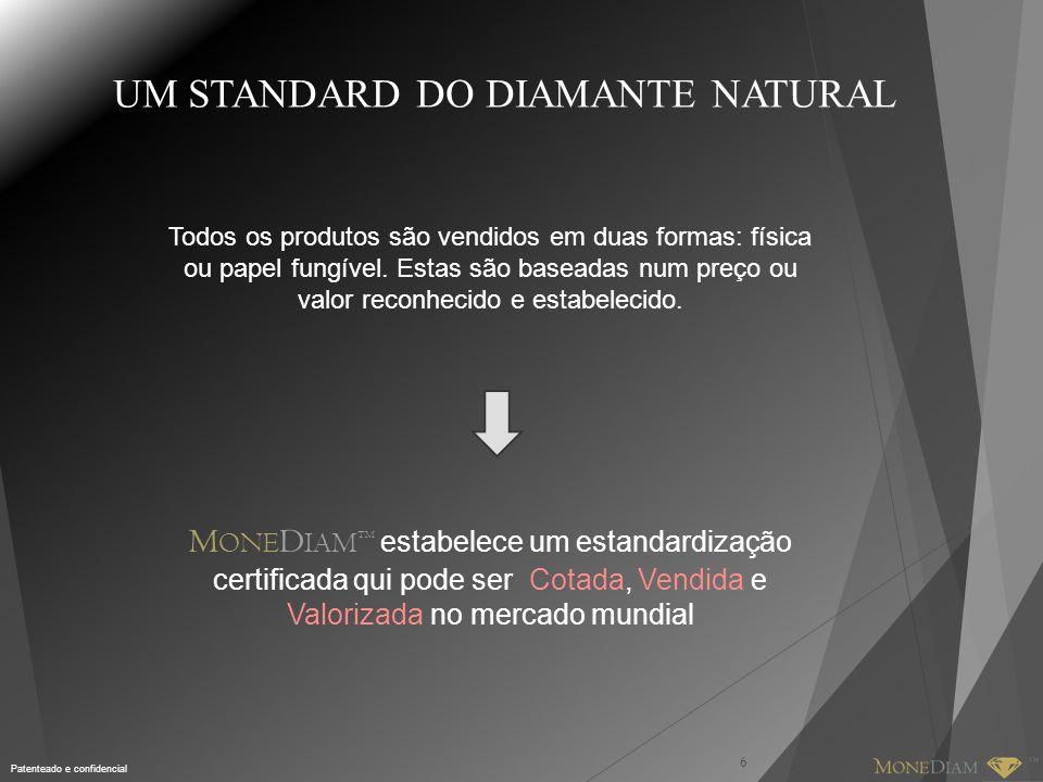 Patenteado e confidencial UM STANDARD DO DIAMANTE NATURAL Todos os produtos são vendidos em duas formas: física ou papel fungível.
