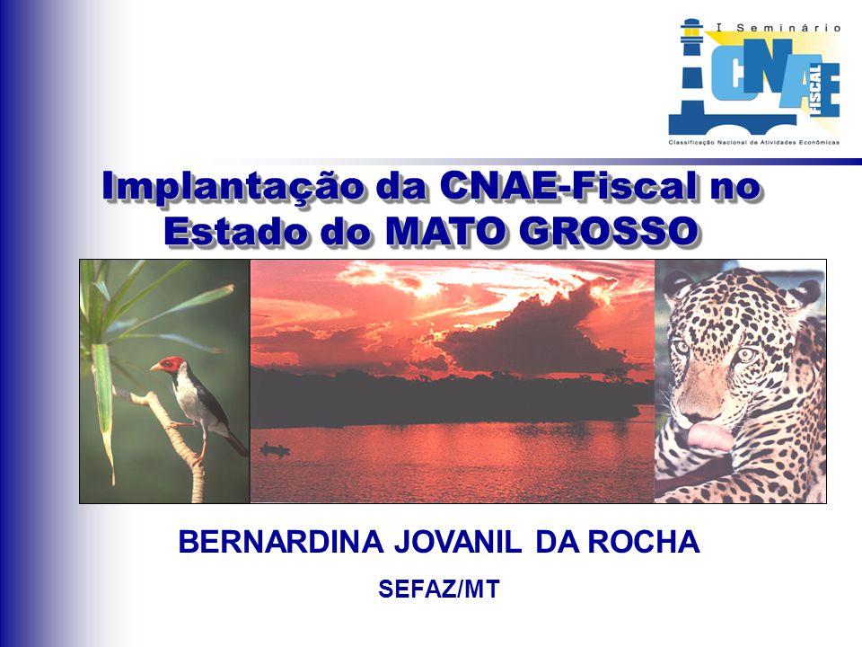 Implantação da CNAE-Fiscal no Estado do MATO GROSSO BERNARDINA JOVANIL DA ROCHA SEFAZ/MT