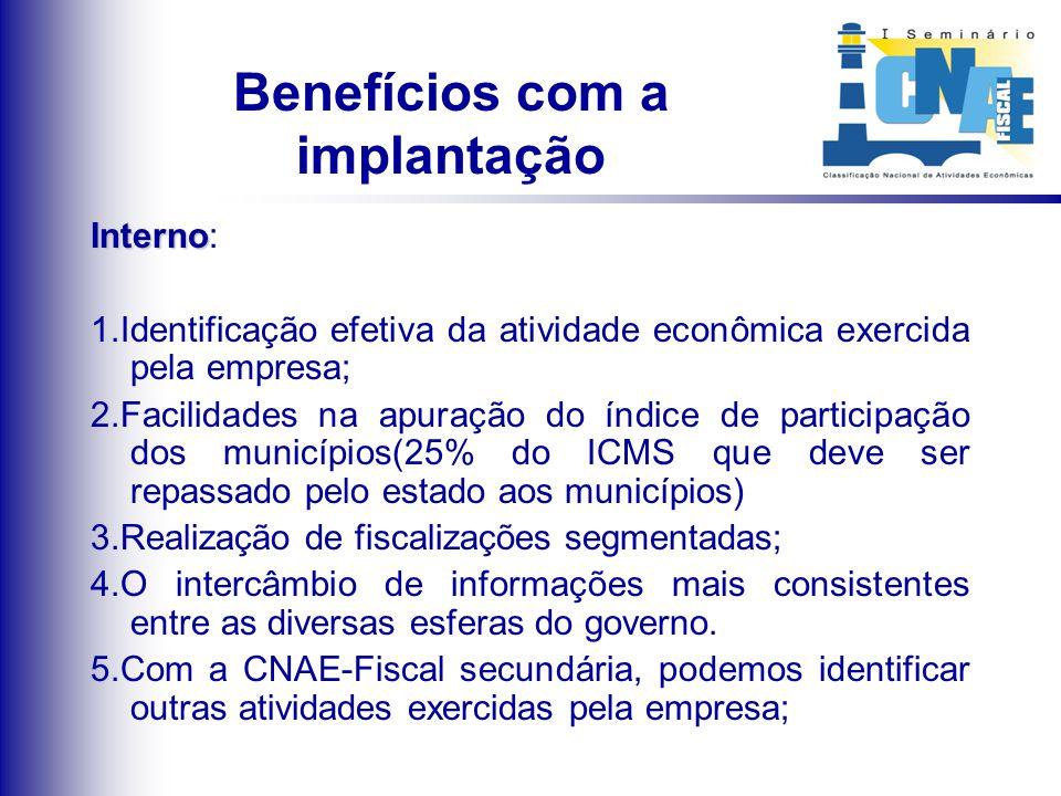 Benefícios com a implantação Interno Interno: 1.Identificação efetiva da atividade econômica exercida pela empresa; 2.Facilidades na apuração do índic