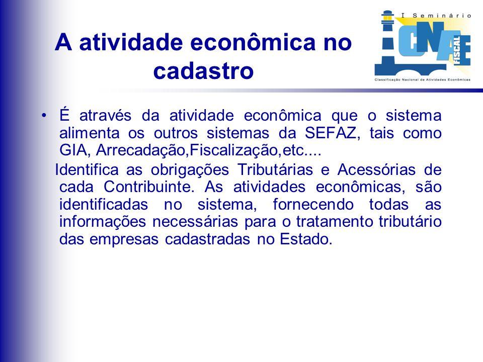 A atividade econômica no cadastro É através da atividade econômica que o sistema alimenta os outros sistemas da SEFAZ, tais como GIA, Arrecadação,Fisc