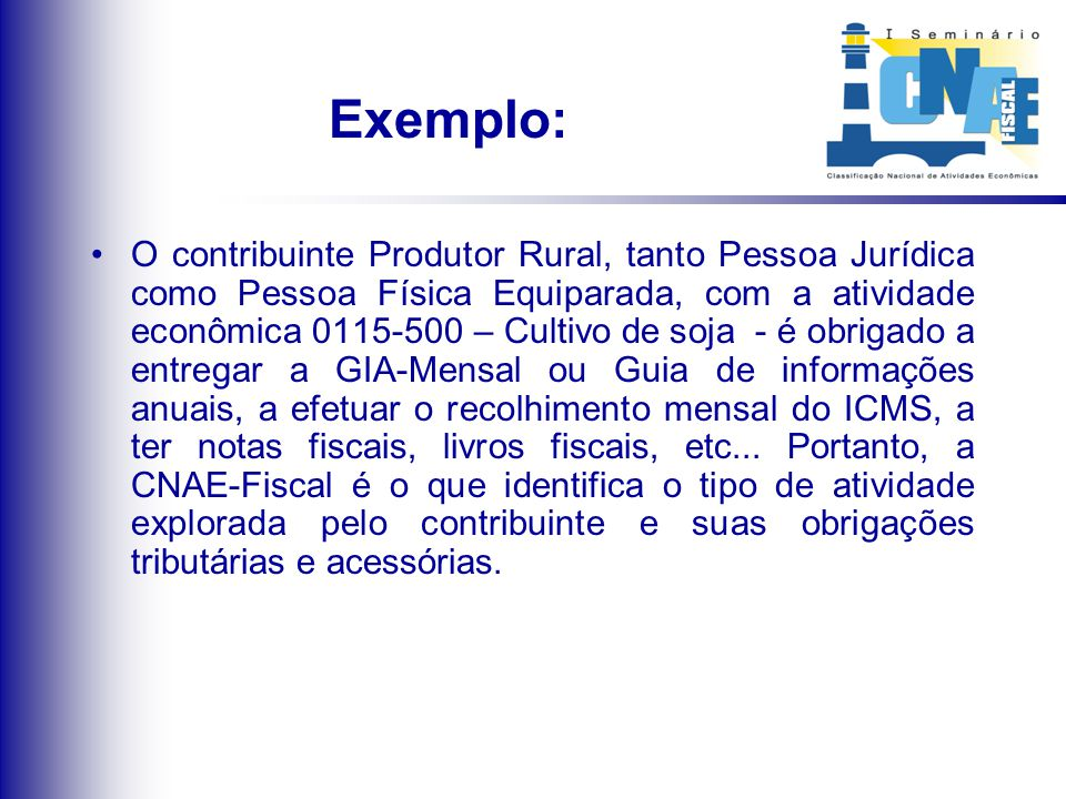 Exemplo: O contribuinte Produtor Rural, tanto Pessoa Jurídica como Pessoa Física Equiparada, com a atividade econômica 0115-500 – Cultivo de soja - é