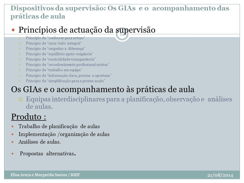 Dispositivos da supervisão: Os GIAs e o acompanhamento das práticas de aula 21/08/2014 Elisa Araya e Margarida Santos / BIEF 12 Princípios de actuação