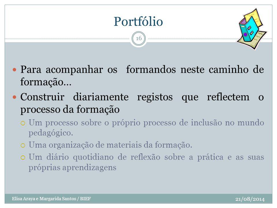Portfólio 21/08/2014 Elisa Araya e Margarida Santos / BIEF 16 Para acompanhar os formandos neste caminho de formação… Construir diariamente registos q