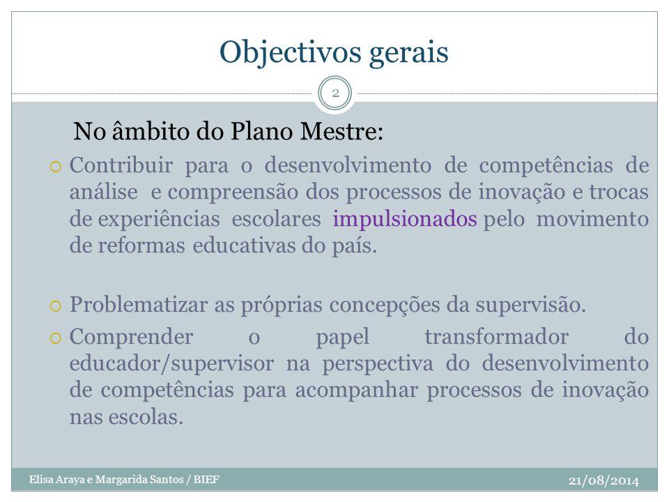 Objectivos gerais 21/08/2014 Elisa Araya e Margarida Santos / BIEF 2 No âmbito do Plano Mestre:  Contribuir para o desenvolvimento de competências de