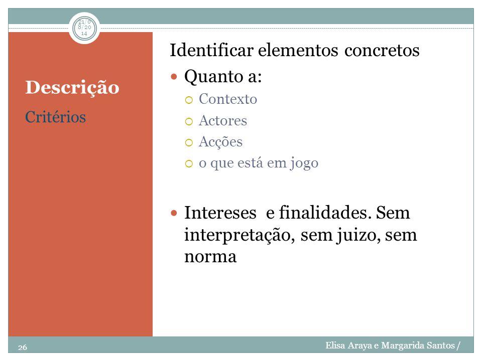 Descrição Critérios Identificar elementos concretos Quanto a:  Contexto  Actores  Acções  o que está em jogo Intereses e finalidades. Sem interpre