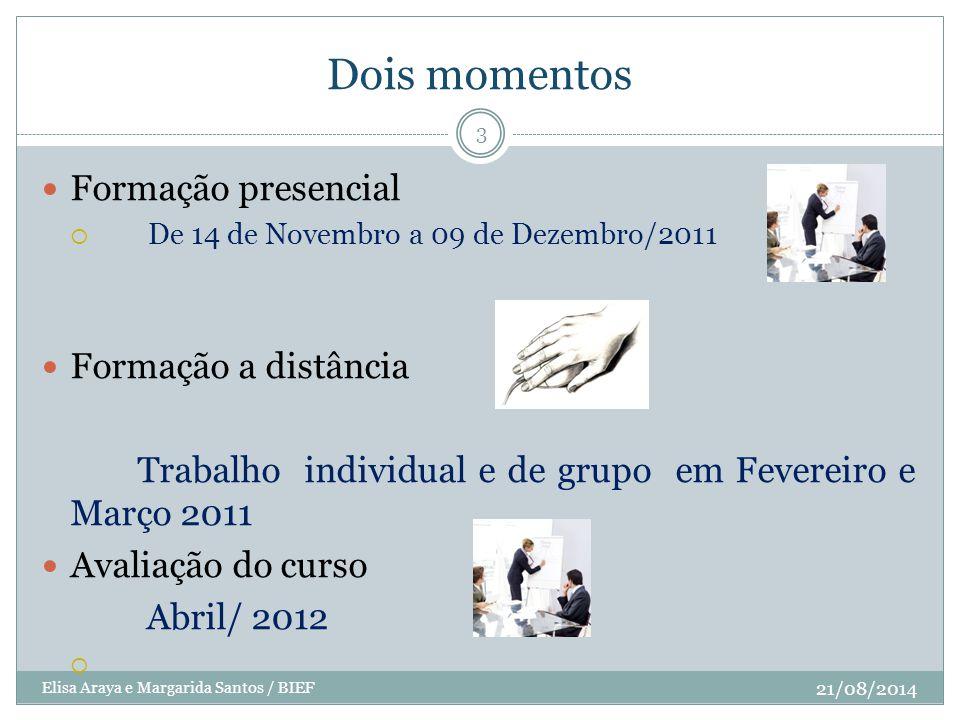 Dois momentos 21/08/2014 Elisa Araya e Margarida Santos / BIEF 3 Formação presencial  De 14 de Novembro a 09 de Dezembro/2011 Formação a distância Tr