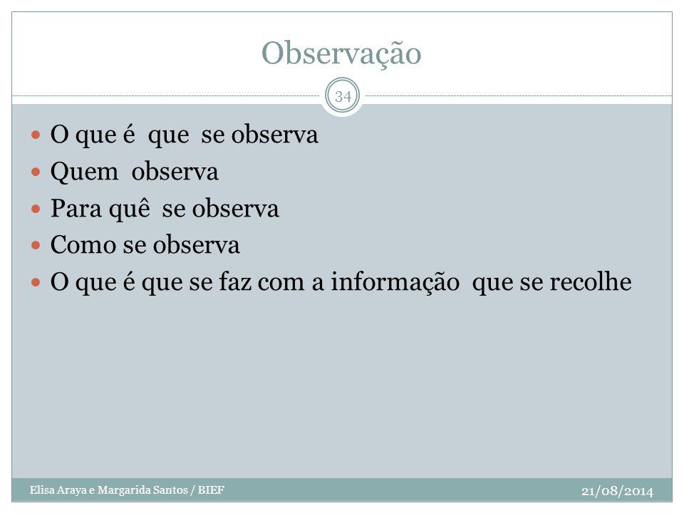 Observação O que é que se observa Quem observa Para quê se observa Como se observa O que é que se faz com a informação que se recolhe 21/08/2014 34 El