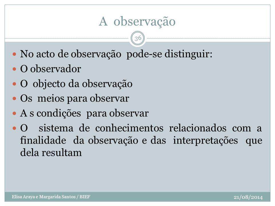 A observação No acto de observação pode-se distinguir: O observador O objecto da observação Os meios para observar A s condições para observar O siste