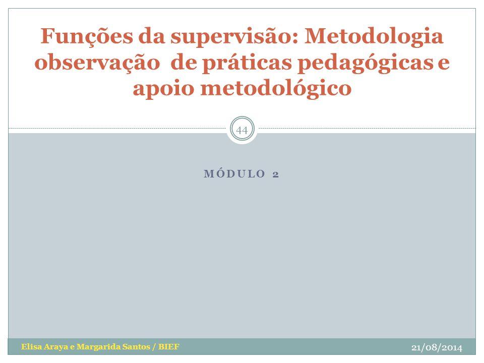 MÓDULO 2 Elisa Araya e Margarida Santos / BIEF Funções da supervisão: Metodologia observação de práticas pedagógicas e apoio metodológico 21/08/2014 4