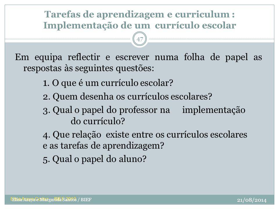 Tarefas de aprendizagem e curriculum : Implementação de um currículo escolar Em equipa reflectir e escrever numa folha de papel as respostas às seguin