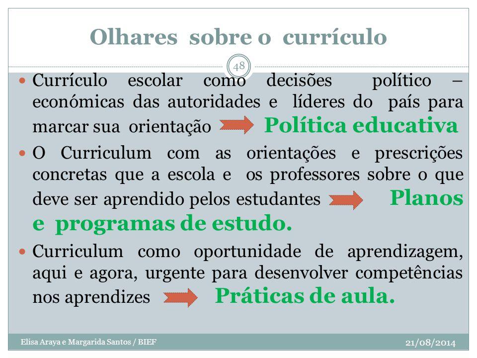 Olhares sobre o currículo Currículo escolar como decisões político – económicas das autoridades e líderes do país para marcar sua orientação Política
