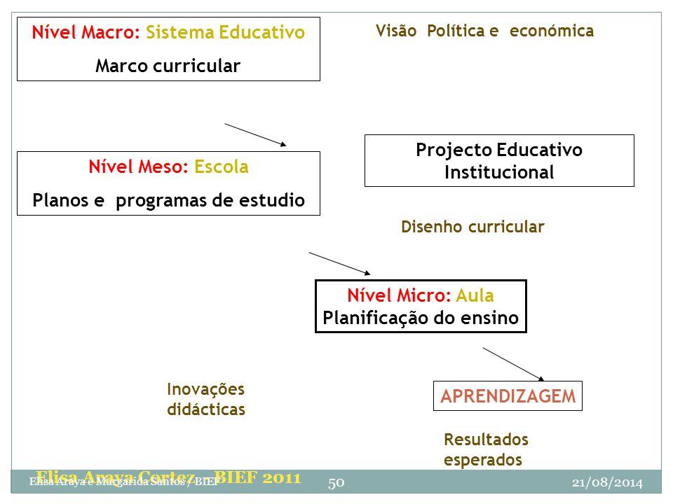 Nível Meso: Escola Planos e programas de estudio Nível Micro: Aula Planificação do ensino APRENDIZAGEM Resultados esperados Inovações didácticas Disen