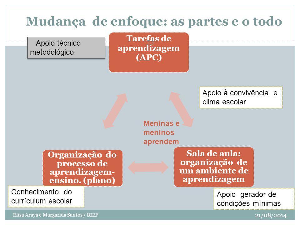 Mudança de enfoque: as partes e o todo Tarefas de aprendizagem (APC) Sala de aula: organização de um ambiente de aprendizagem Organização do processo