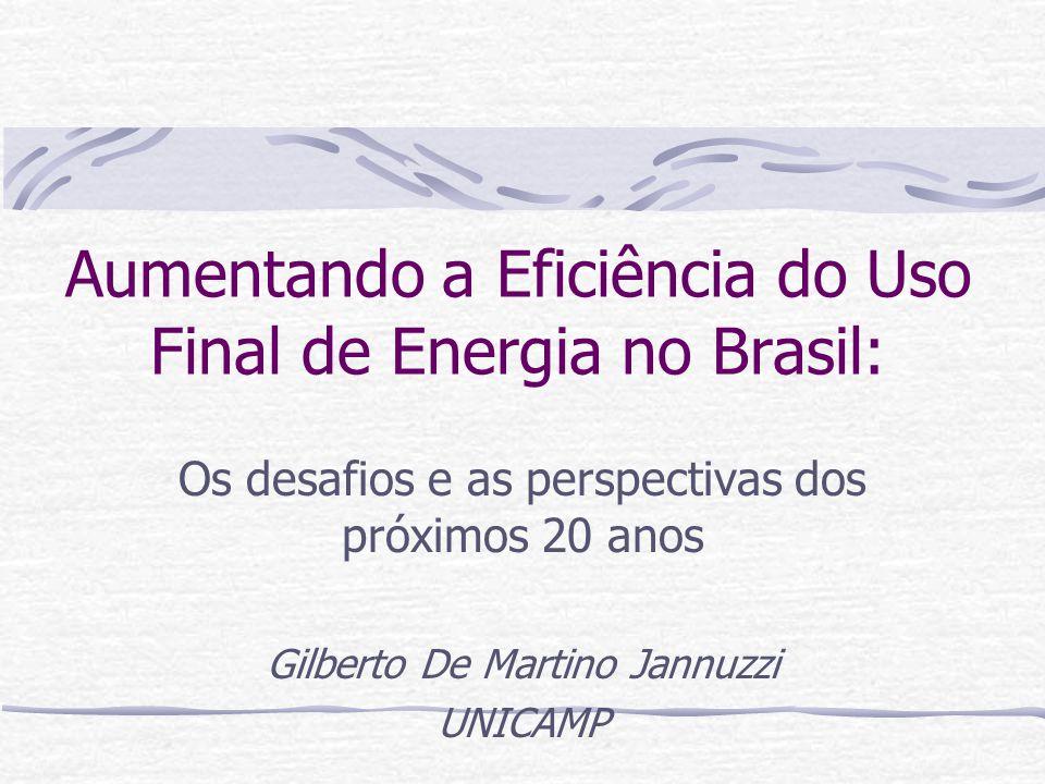 Aumentando a Eficiência do Uso Final de Energia no Brasil: Os desafios e as perspectivas dos próximos 20 anos Gilberto De Martino Jannuzzi UNICAMP