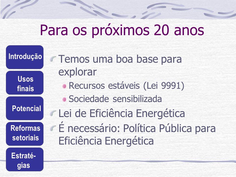 Introdução Usos finais Potencial Reformas setoriais Estraté- gias Para os próximos 20 anos Temos uma boa base para explorar Recursos estáveis (Lei 999