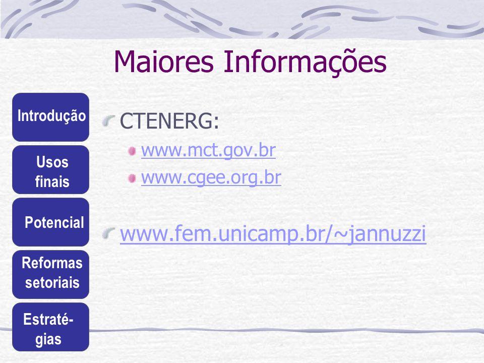 Introdução Usos finais Potencial Reformas setoriais Estraté- gias Maiores Informações CTENERG: www.mct.gov.br www.cgee.org.br www.fem.unicamp.br/~jann