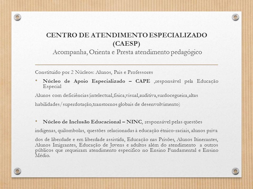 CENTRO DE ATENDIMENTO ESPECIALIZADO (CAESP) Acompanha, Orienta e Presta atendimento pedagógico Constituído por 2 Núcleos: Alunos, Pais e Professores N