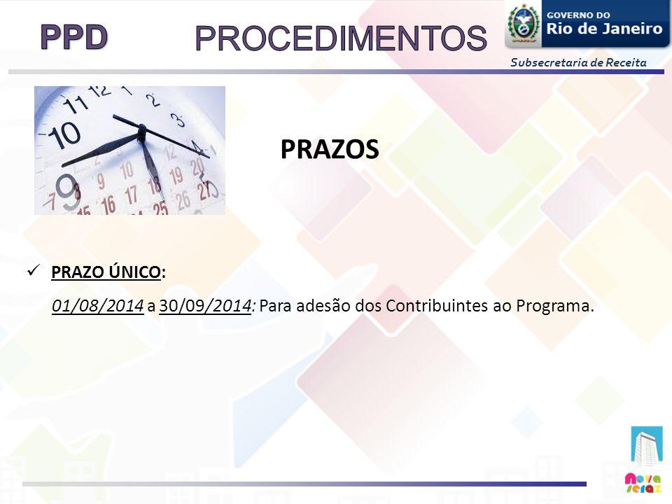 PRAZO ÚNICO: 01/08/2014 a 30/09/2014: Para adesão dos Contribuintes ao Programa. PRAZOS