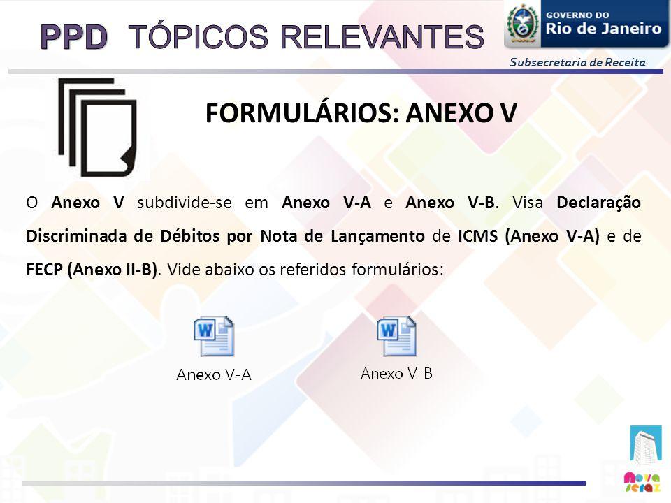 Subsecretaria de Receita O Anexo V subdivide-se em Anexo V-A e Anexo V-B. Visa Declaração Discriminada de Débitos por Nota de Lançamento de ICMS (Anex