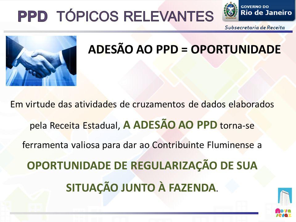 Subsecretaria de Receita ADESÃO AO PPD = OPORTUNIDADE Em virtude das atividades de cruzamentos de dados elaborados pela Receita Estadual, A ADESÃO AO