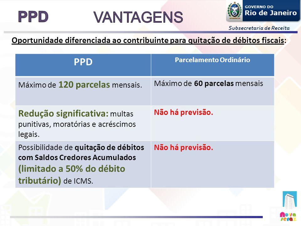 Subsecretaria de Receita Oportunidade diferenciada ao contribuinte para quitação de débitos fiscais: PPD Parcelamento Ordinário Máximo de 120 parcelas