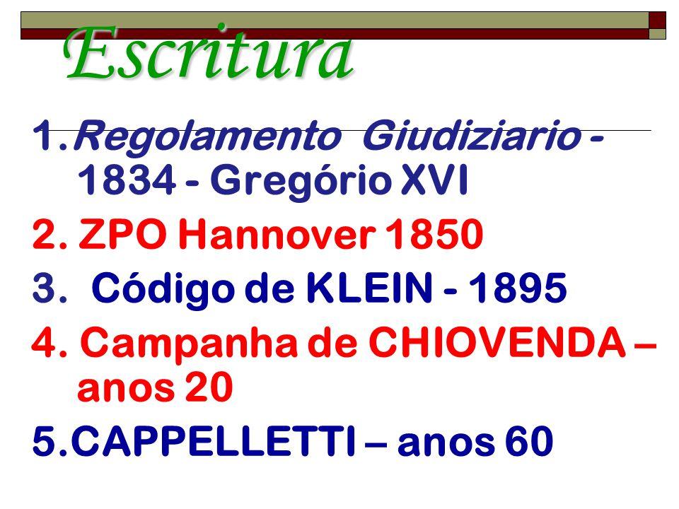 Oralidade e Escritura 1.Regolamento Giudiziario - 1834 - Gregório XVI 2. ZPO Hannover 1850 3. Código de KLEIN - 1895 4. Campanha de CHIOVENDA – anos 2