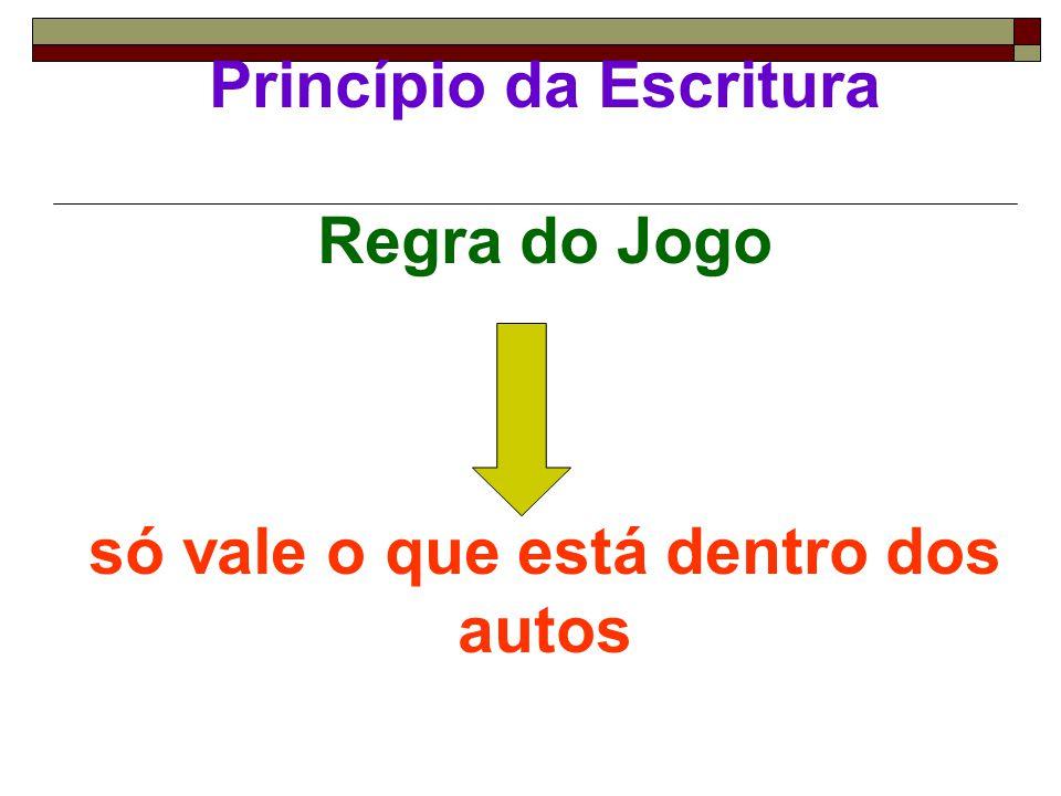 Princípio da Escritura Regra do Jogo só vale o que está dentro dos autos