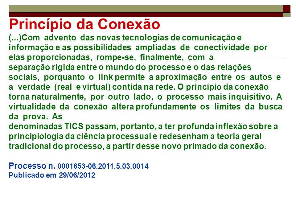 Princípio da Conexão (...)Com advento das novas tecnologias de comunicação e informação e as possibilidades ampliadas de conectividade por elas propor