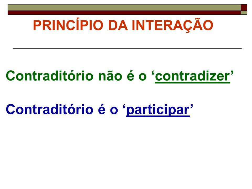 PRINCÍPIO DA INTERAÇÃO Contraditório não é o 'contradizer' Contraditório é o 'participar'