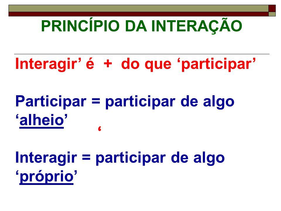 ' PRINCÍPIO DA INTERAÇÃO Interagir' é + do que 'participar' Participar = participar de algo 'alheio' Interagir = participar de algo 'próprio'
