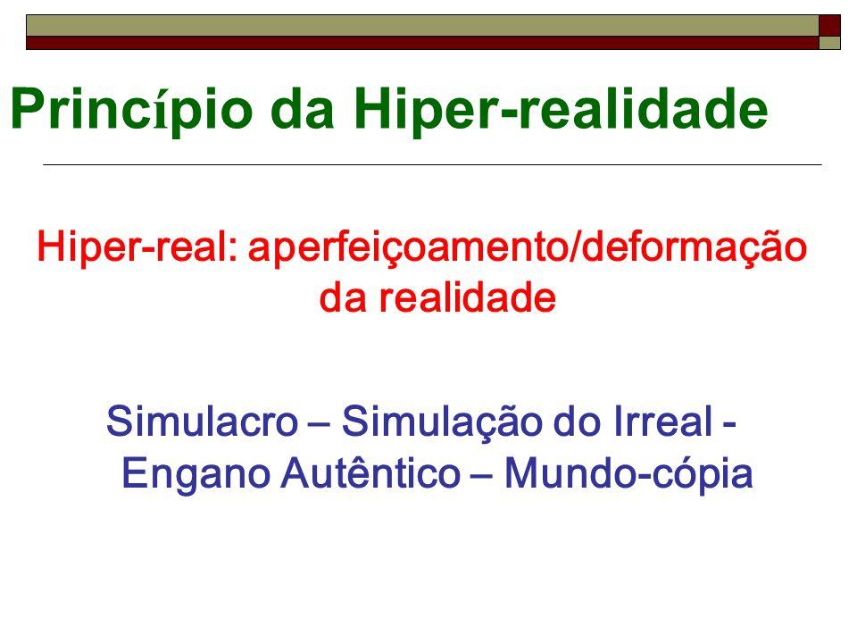 Princ í pio da Hiper-realidade Hiper-real: aperfeiçoamento/deformação da realidade Simulacro – Simulação do Irreal - Engano Autêntico – Mundo-cópia