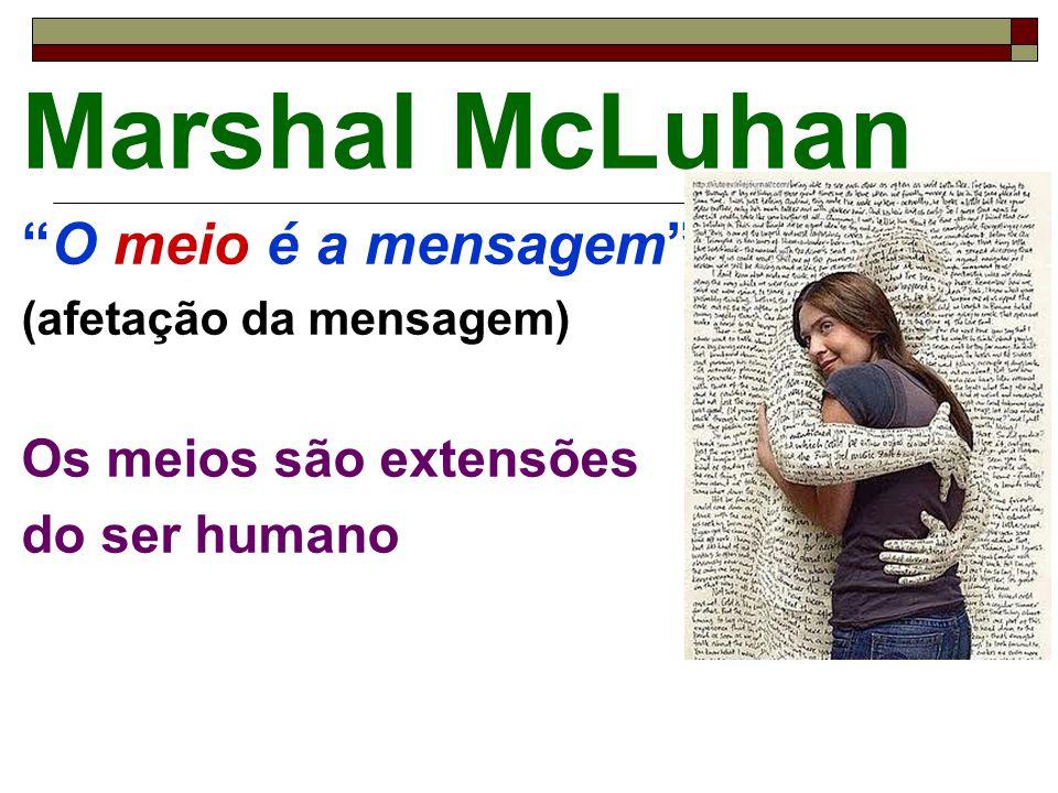 """Marshal McLuhan """"O meio é a mensagem"""" (afetação da mensagem) Os meios são extensões do ser humano"""