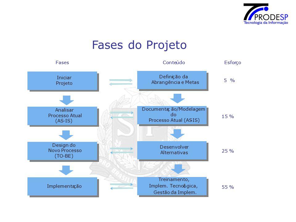 Fases do Projeto Definiç ão da Abrangência e Metas Definiç ão da Abrangência e Metas Treinamento, Implem.