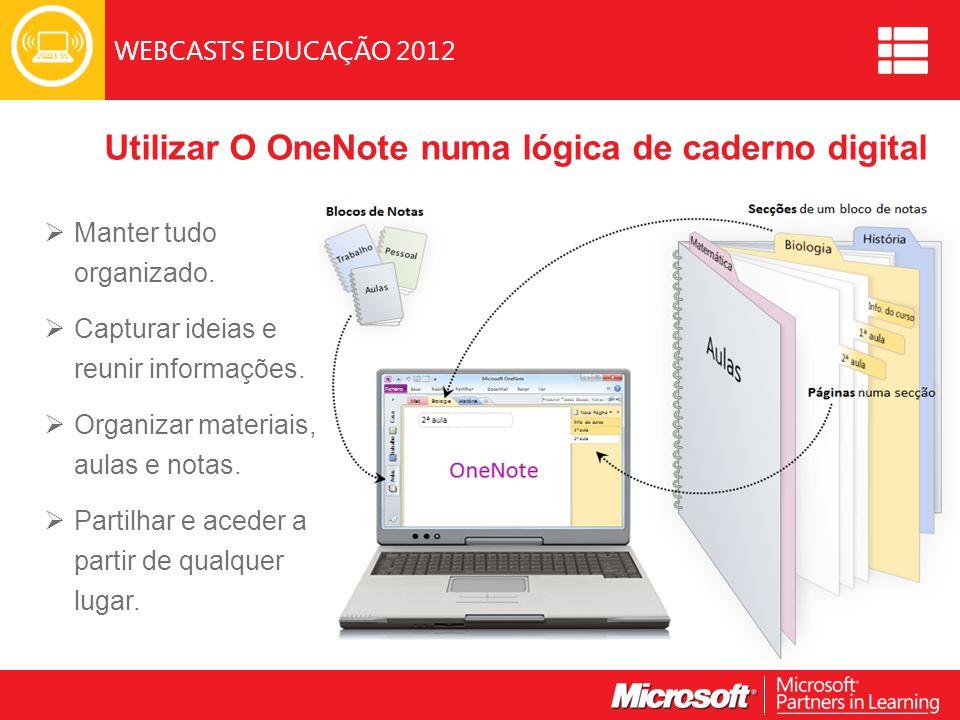 WEBCASTS EDUCAÇÃO 2012 Utilizar O OneNote numa lógica de caderno digital  Manter tudo organizado.