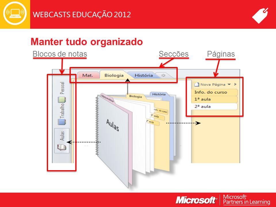 WEBCASTS EDUCAÇÃO 2012 Manter tudo organizado SecçõesBlocos de notasPáginas