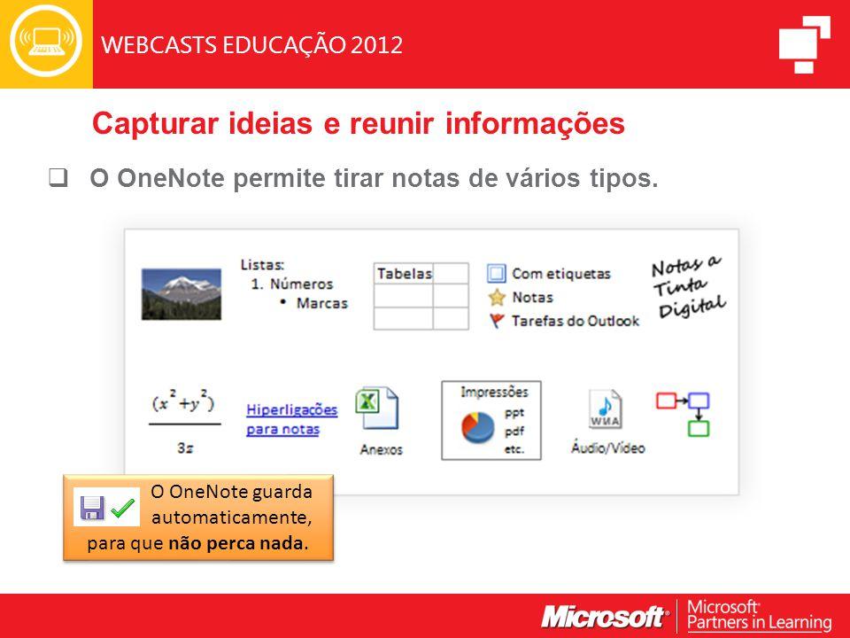 WEBCASTS EDUCAÇÃO 2012 Capturar ideias e reunir informações  O OneNote permite tirar notas de vários tipos.