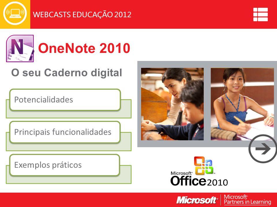 WEBCASTS EDUCAÇÃO 2012 OneNote 2010 O seu Caderno digital Image PotencialidadesPrincipais funcionalidadesExemplos práticos