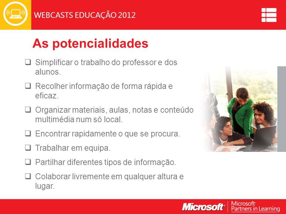 WEBCASTS EDUCAÇÃO 2012 As potencialidades  Simplificar o trabalho do professor e dos alunos.