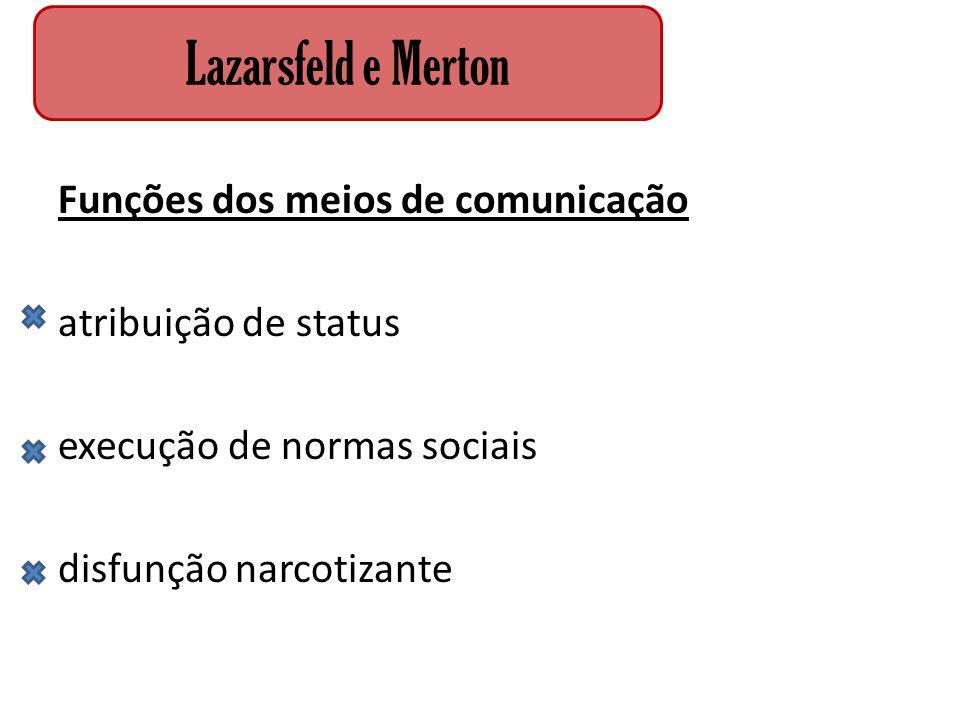 Funções dos meios de comunicação atribuição de status execução de normas sociais disfunção narcotizante Lazarsfeld e Merton