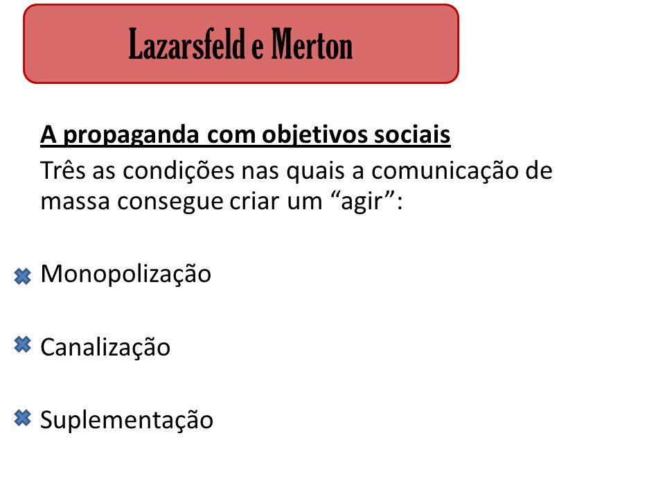 """A propaganda com objetivos sociais Três as condições nas quais a comunicação de massa consegue criar um """"agir"""": Monopolização Canalização Suplementaçã"""