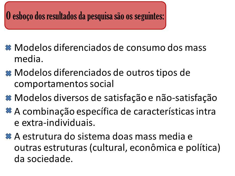 Modelos diferenciados de consumo dos mass media. Modelos diferenciados de outros tipos de comportamentos social Modelos diversos de satisfação e não-s