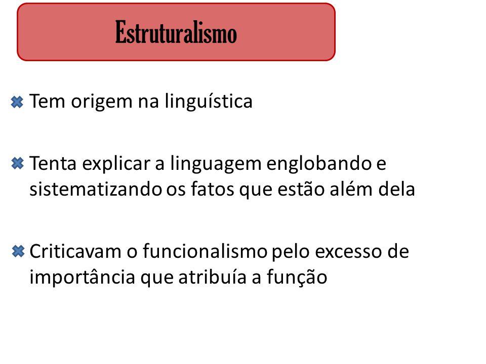 Tem origem na linguística Tenta explicar a linguagem englobando e sistematizando os fatos que estão além dela Criticavam o funcionalismo pelo excesso
