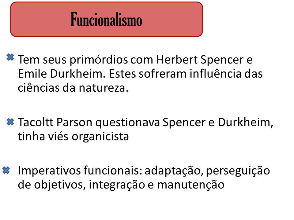 Tem seus primórdios com Herbert Spencer e Emile Durkheim. Estes sofreram influência das ciências da natureza. Tacoltt Parson questionava Spencer e Dur