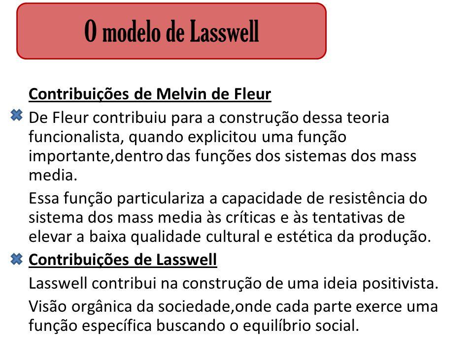 Contribuições de Melvin de Fleur De Fleur contribuiu para a construção dessa teoria funcionalista, quando explicitou uma função importante,dentro das