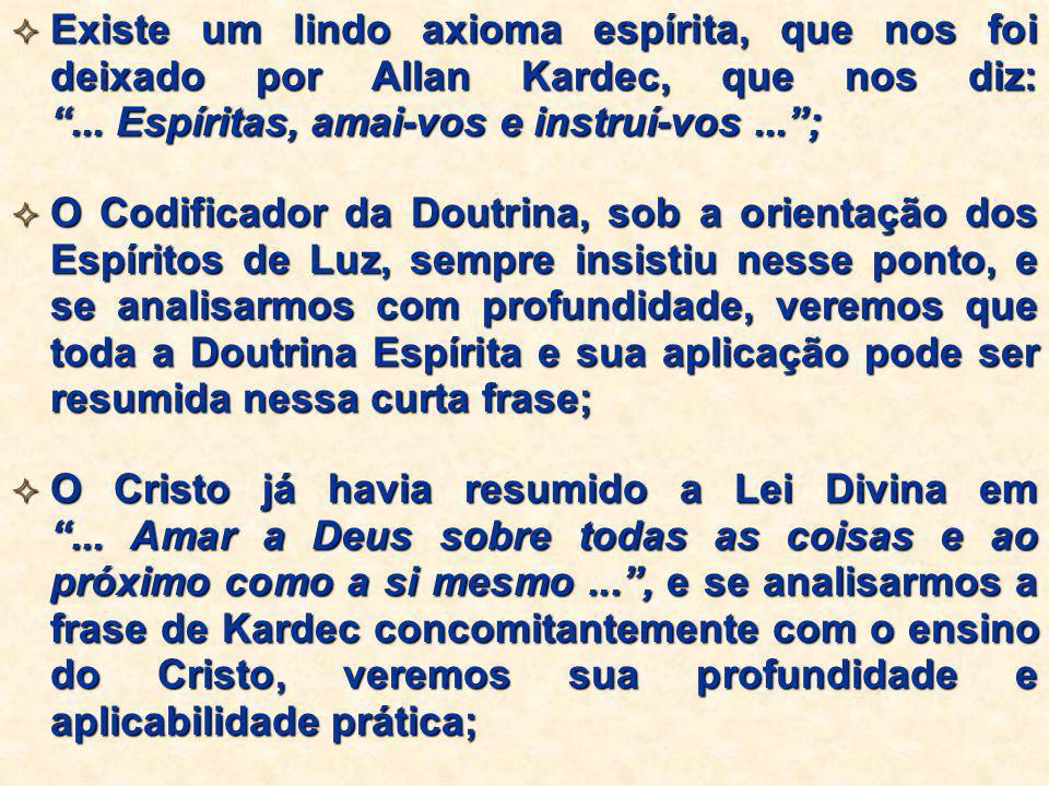 """ Existe um lindo axioma espírita, que nos foi deixado por Allan Kardec, que nos diz: """"... Espíritas, amai-vos e instruí-vos..."""";  O Codificador da D"""