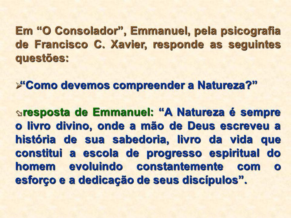 """Em """"O Consolador"""", Emmanuel, pela psicografia de Francisco C. Xavier, responde as seguintes questões:  """"Como devemos compreender a Natureza?""""  respo"""