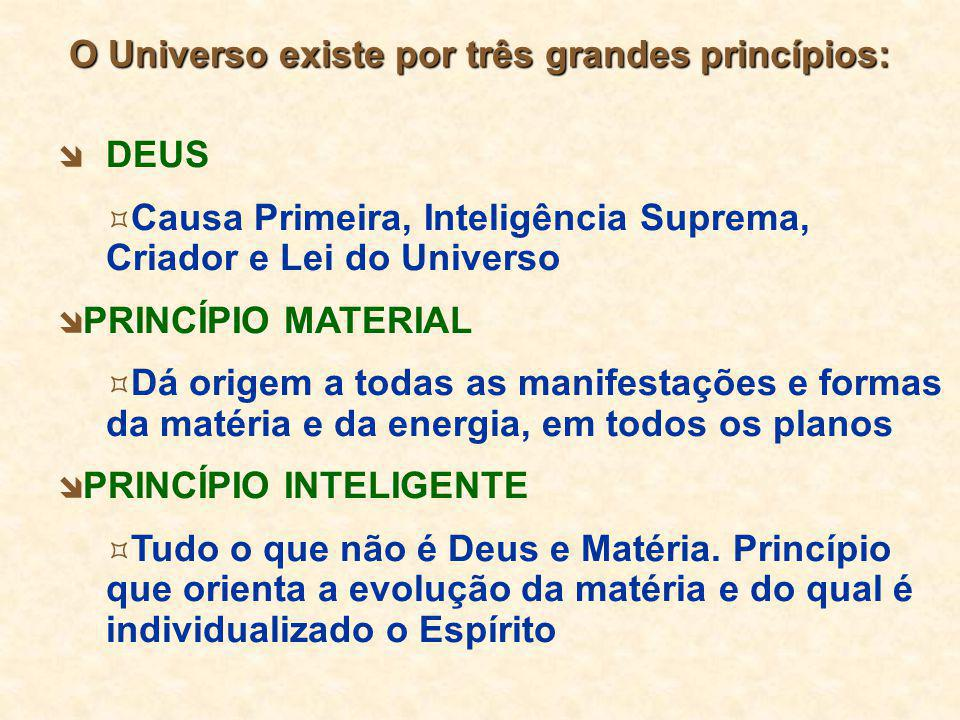  DEUS  Causa Primeira, Inteligência Suprema, Criador e Lei do Universo  PRINCÍPIO MATERIAL  Dá origem a todas as manifestações e formas da matéria