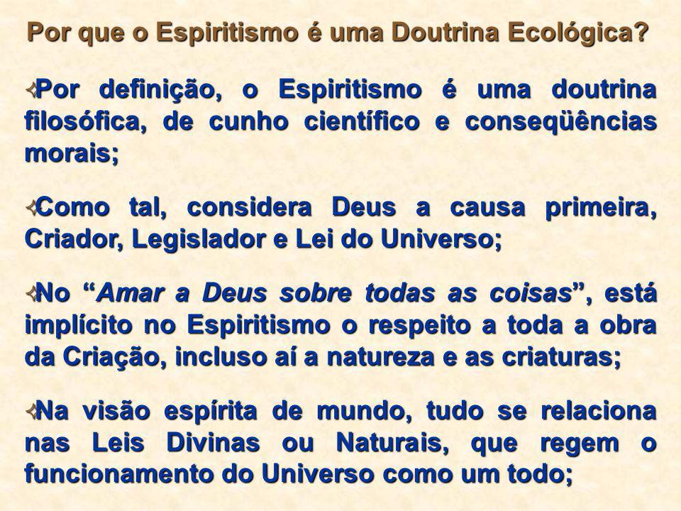 Por que o Espiritismo é uma Doutrina Ecológica?  Por definição, o Espiritismo é uma doutrina filosófica, de cunho científico e conseqüências morais;